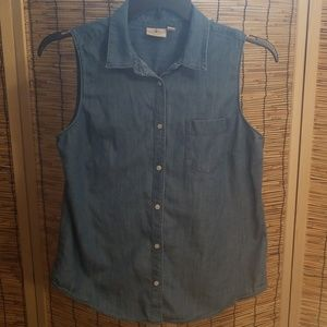 St. John's Bay Chambray Sleeveless Button Down